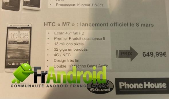 Das neue HTC M7 im französischen Phone House Prospekt
